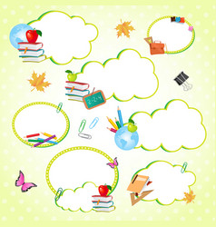 Cloud stickers set decorated with school supplies vector