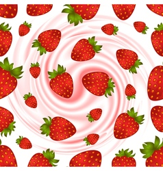 Cream and strawberry pattern vector image