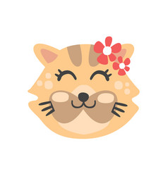 cute cat head with closed eyes funny cartoon vector image vector image