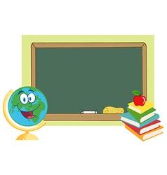 Desk globe by a chalkboard vector
