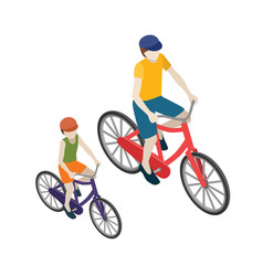 Female and male cyclists riding on a bicycle flat vector