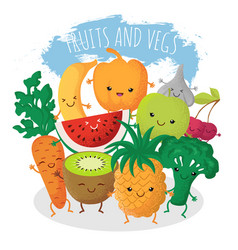 group of funny fruit and vegetables friends vector image vector image