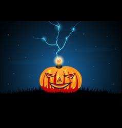 Halloween pumpkin graveyard grass thunderbolt vector