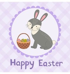 Happy Easter greeting card with a cute rabbit vector image vector image