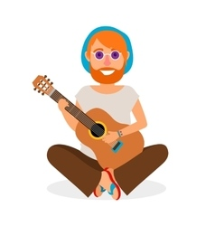 Hippie man with guitar icon vector