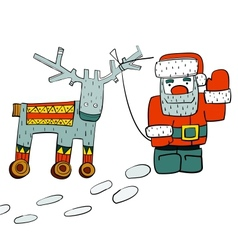 Humorous Santa and Reindeer on Wheels vector image