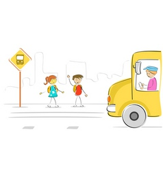 kids at bus stop vector image vector image