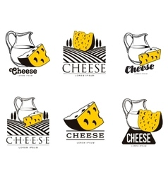 large set of various logo with cheese vector image
