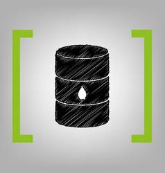 Oil barrel sign black scribble icon in vector