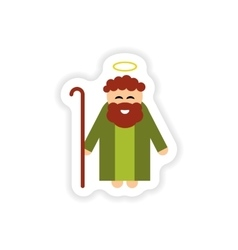 Paper sticker on white background father of jesus vector