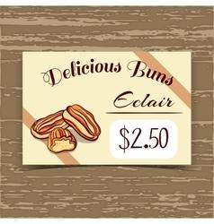 Price tag design eclairs vector
