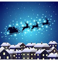 Santa reindeer silhouette on night city vector image