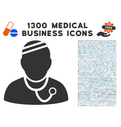 sick physician icon with 1300 medical business vector image
