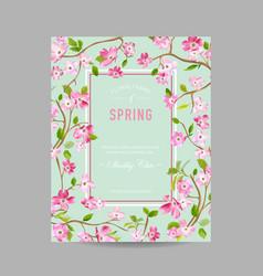 Spring floral frame for invitation wedding vector