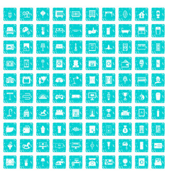 100 interior icons set grunge blue vector image vector image