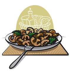 Fried mushrooms vector