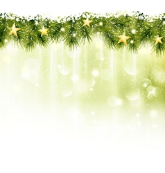 Border of fir twigs with golden stars in soft ligh vector