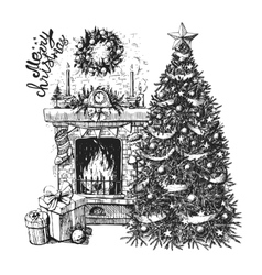 Christmas tree and fireplace vector