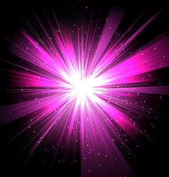 Star with rays white purple in space isolated and vector