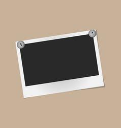 Realistic photo frame on metal rivets isolated on vector