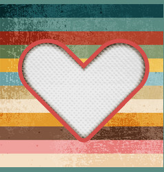 Paper heart on retro background with stripes vector image