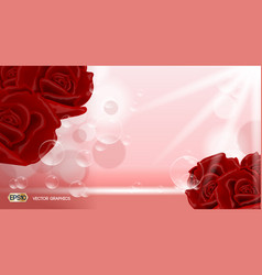 Red rose flowers fragrance for ads dazzling vector