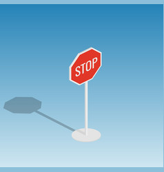 Road sign stop isometric vector