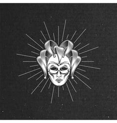 Engraving venetian carnival mask vector