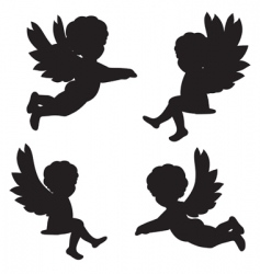Silhouettes of angels vector