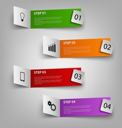 Info graphic with colored paper pointers template vector