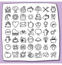Childish doodle icon set vector