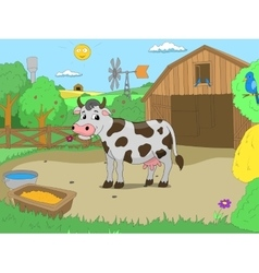 Cartoon cow in farm color book children vector