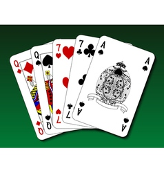 Poker hand - two pair vector