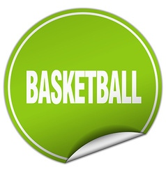 Basketball round green sticker isolated on white vector