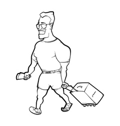 Travelling man goes with bag vector