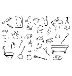bathroom accessories collection doodle style vector image vector image