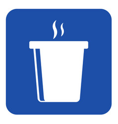 Blue white sign - hot fastfood drink with smoke vector