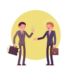 Businessman is giving money to another man vector