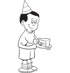 Cartoon boy eating cake vector image vector image
