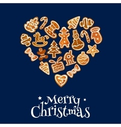 Christmas cookie heart composed of gingerbread vector image vector image