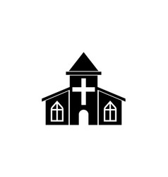 Church solid icon religious monument and building vector