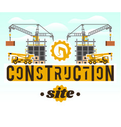 Construction site crane lifting concrete slabs vector