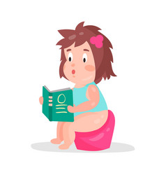 Cute cartoon little girl sitting on a pot and vector