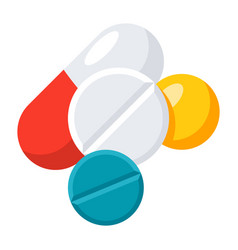 different tablets and pills vector image