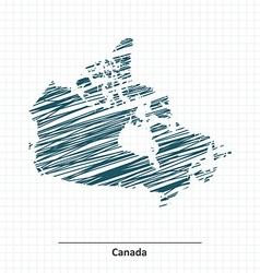 Doodle sketch of canada map vector