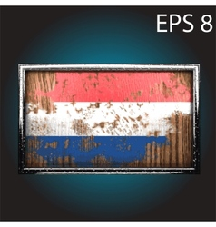 flag on old wood vector image