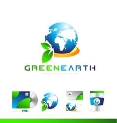 Green planet earth globe logo icon design vector