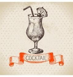 Hand drawn sketch cocktail vintage background vector image