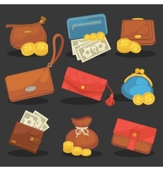 icons set of wallets vector image vector image