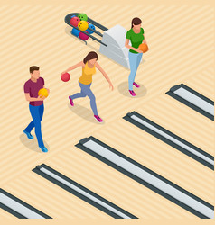 Isometric bowling center interior with game vector